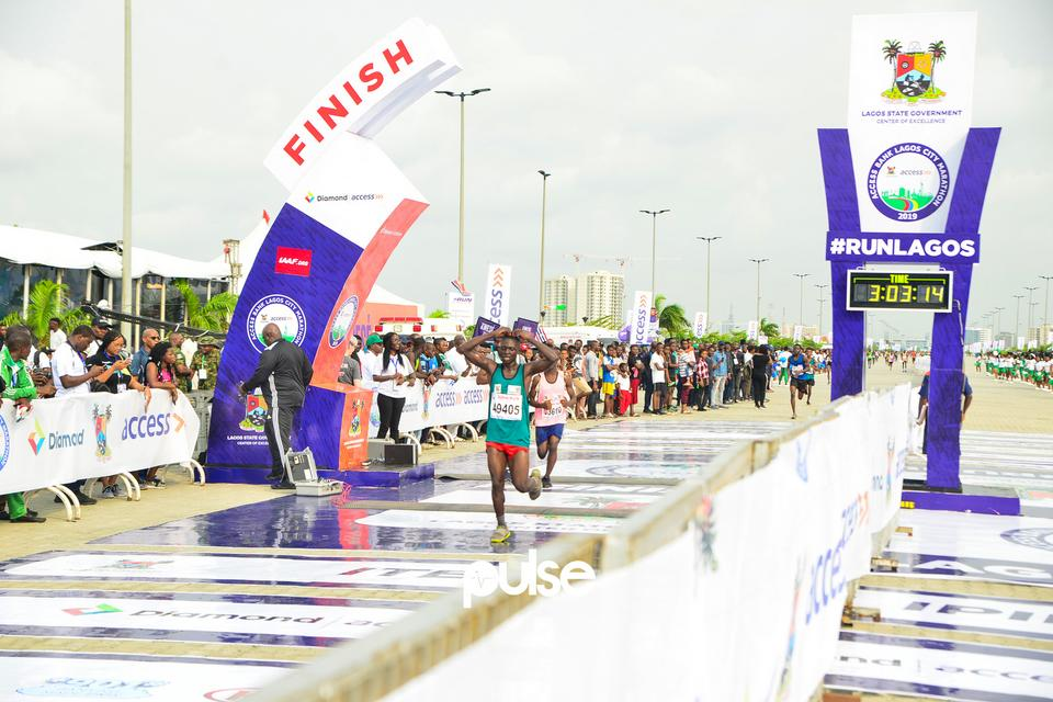 Athlete gets to the finish line at Access Bank Lagos City Marathon 2019