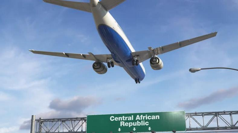An aircraft landing in the Central African Republic
