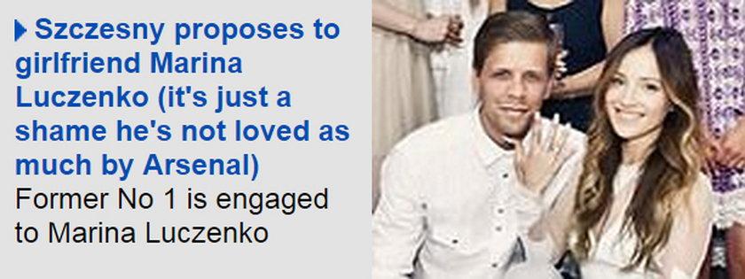 Angielskie media piszą o zaręczynach Szczęsnego i kpią z Polaka