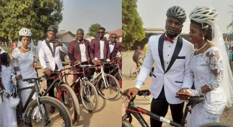Female cyclist's beautiful wedding full of bicycles; no car