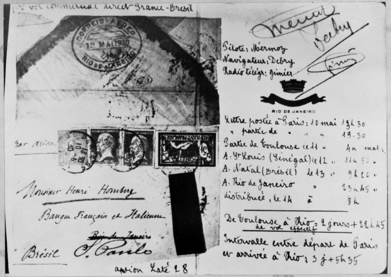 This postcard was transported by the first transatlantic flight between Toulouse and Rio de Janeiro on May 13, 1930