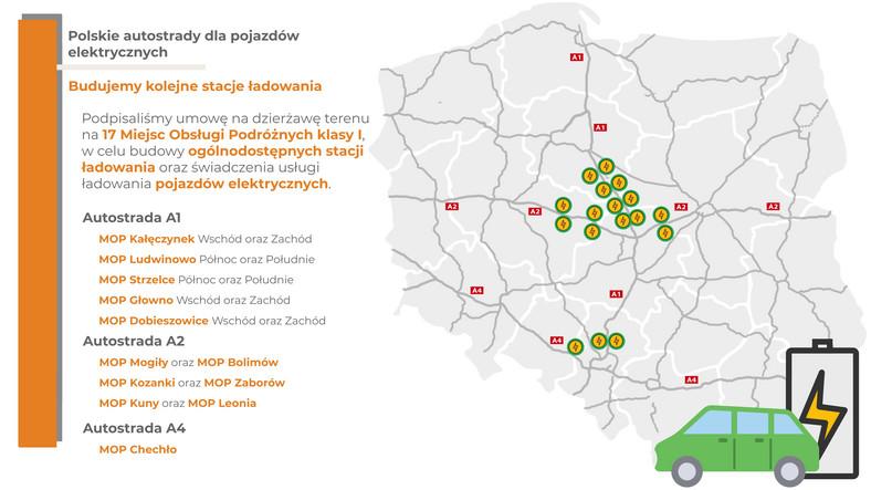 Mapa nowych stacji ładowania