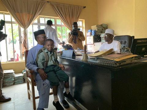 Governor Nasir El-Rufai of Kaduna State in Capital School, Malali, Kaduna, a public school, to enrol their six-year old son Abubakar El-Rufai into a primary school.  [Twitter/GovKaduna]