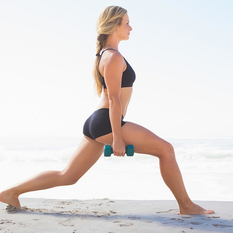 These beach lunges are a great way of exercising and getting some fresh air at the same time
