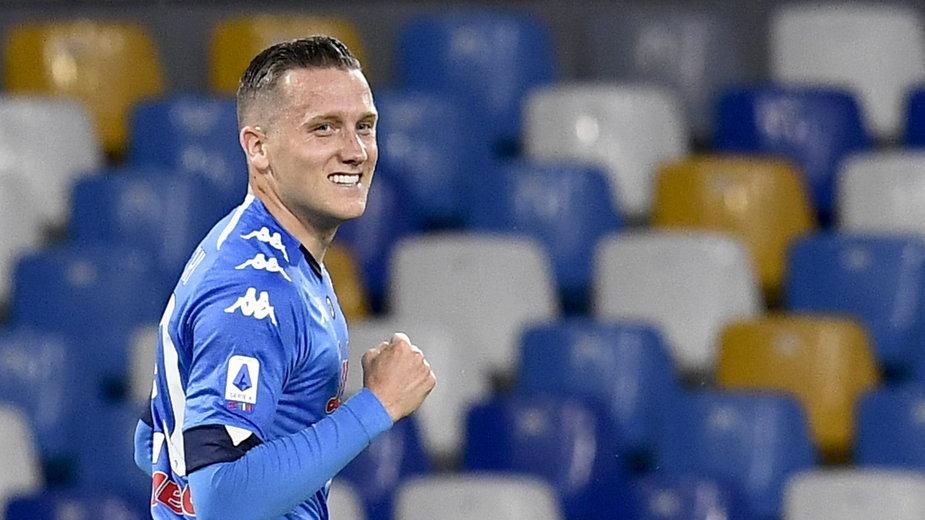 Piotr Zieliński świętuje gola w meczu z Udinese