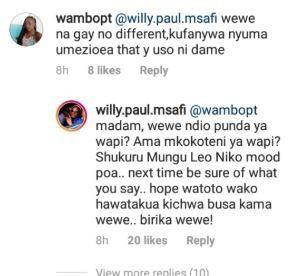 Wewe ndio punda ya wapi? – Willy Paul responds after being called Gay