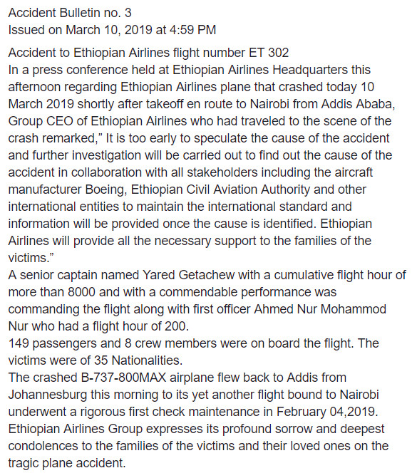 Ethiopian Airlines CEO gives nationalities of plane crash victims