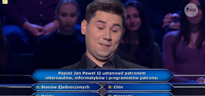 """""""Milionerzy"""". Ale pytanie! Kogo Papież Jan Paweł II ustanowił opiekunem internautów i informatyków?"""