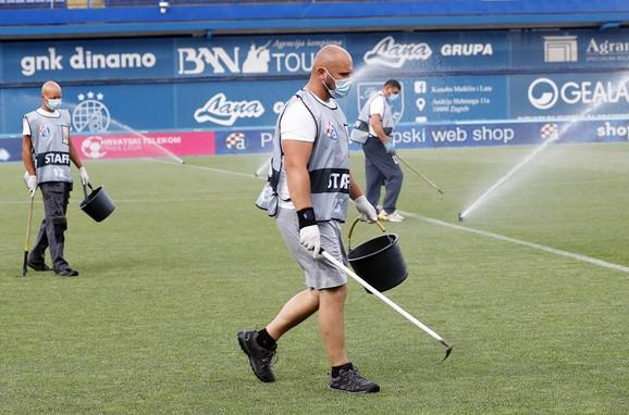 Dezinfekcija na stadionu na kome će FK Dinamo Zagreb ugostiti splitski Hajduk