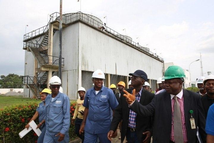 Minister of Power, Works and Housing, Mr Babatunde Fashola during official visit to Omotosho Power Plant, Oshogbo, Osun state.