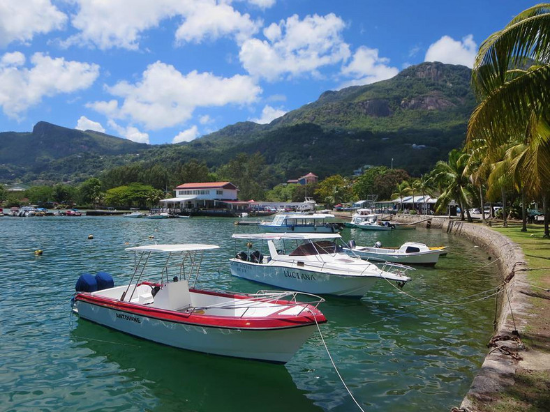 Charter fishing boats up in the Inner Harbour of Victoria, Seychelles.