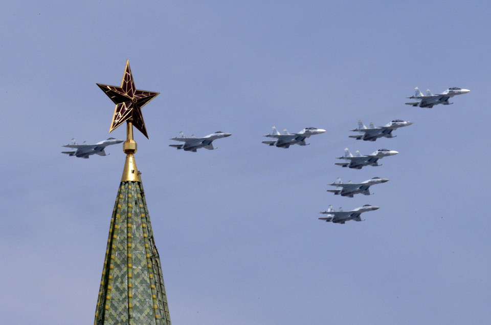 SU-34 military fighter jets fly in formation during the Victory Day parade above Red Square in Moscow