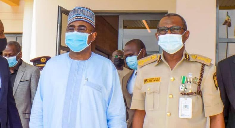 Chairman/Chief Executive of the NDLEA, Gen. MB Marwa (Retd), OFR, and the Comptroller General of the Nigeria Immigration Service, Muhammed Babandede when the former paid a working visit to the National HQ of the NIS in Abuja. [Twitter/@ndleanigeria]