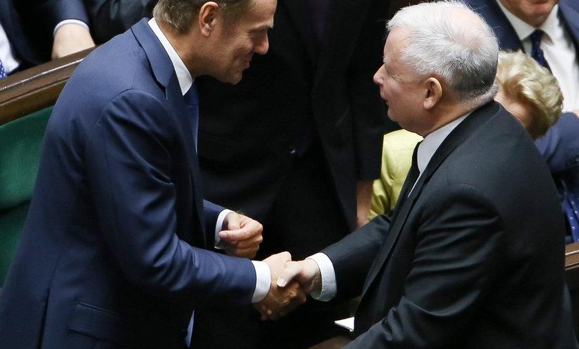 Donald Tusk, były premier i szef Rady Europejskiej i Jarosław Kaczyński, prezes PiS