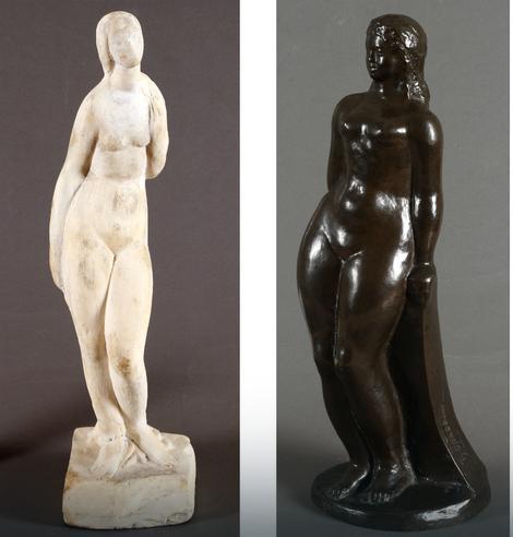 Levo: Petar Palavičini (1883-1962), Ženski akt, Gips, visina: 44 cm, 2.200 €, Desno: Đorđe Oraovac (1891-1955), Akt devojke, Bronza, visina: 37 cm, 950 €