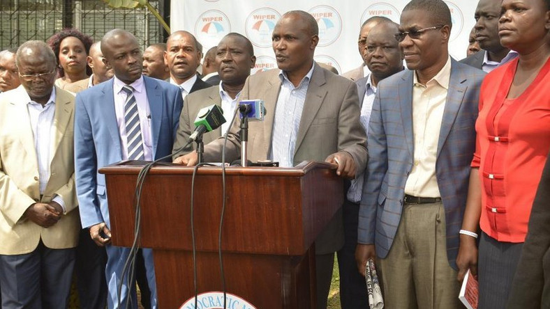 Nasa MPs led by ODM Chairman John Mbadi during a past media briefing