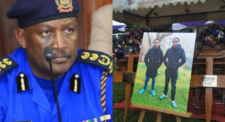 Inspector General of Police Hillary Mutyambai and the Kianjokoma brothers