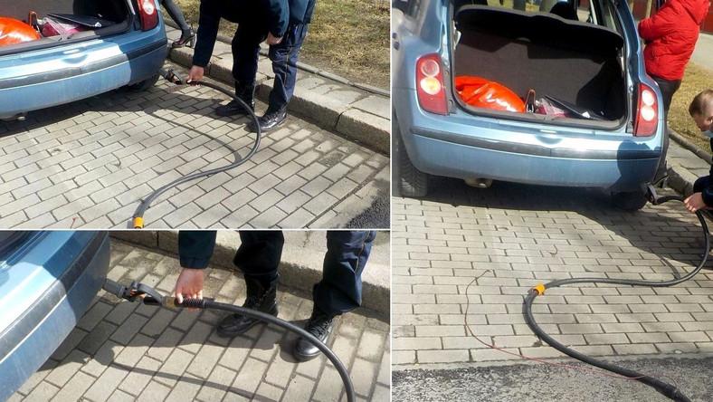 Kobieta odjechała ze stacji paliw z wężem do tankowania