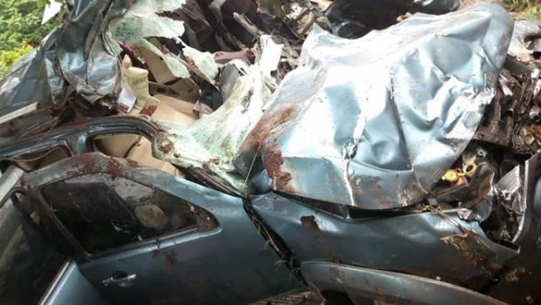 The mangled wreck of the vehicle which Murang'a Water CEC Paul Macharia was driving