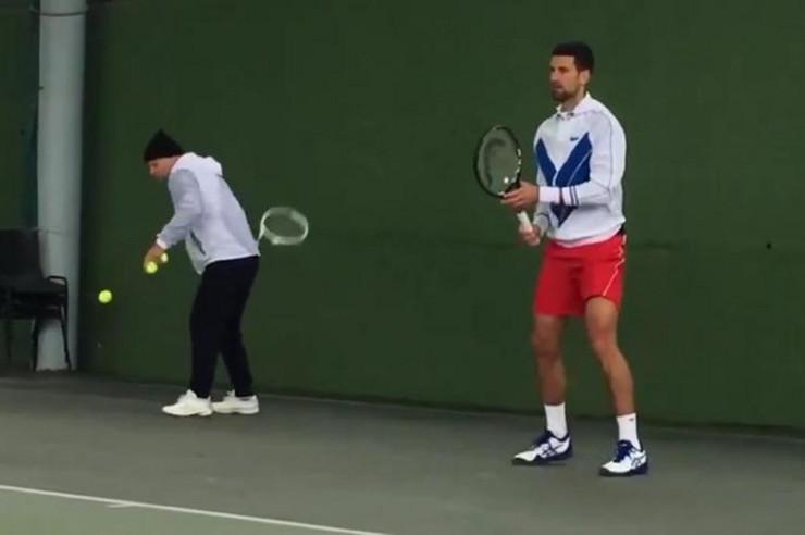 Novak Đoković na treningu