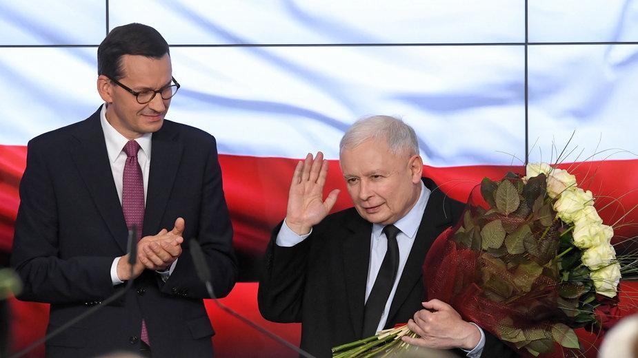 (od lewej) Mateusz Morawiecki i Jarosław Kaczyński. 13.10.2019 r.