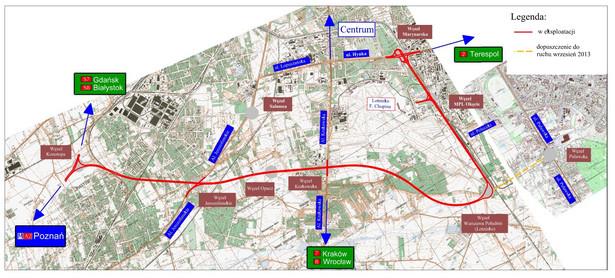 Mapa Południowej Obwodnicy Warszawy - źródło: GDDKiA