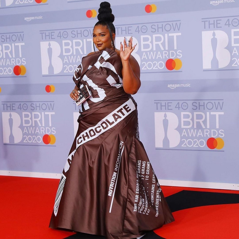 Lizzo Beeating at the 40th BRIT Awards Red Carpet [Getty Images]