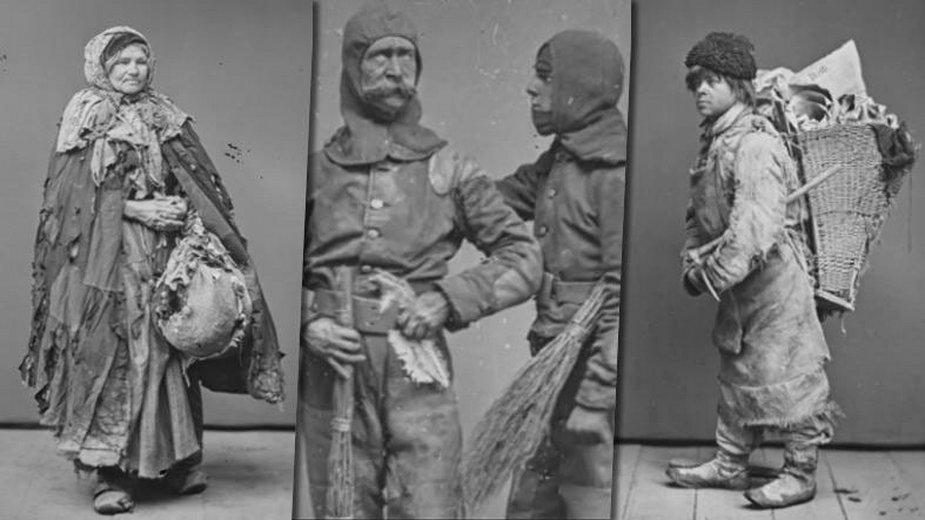 Żebracy, szklarze, śmieciarze... Ludzie ulicy na fenomenalnych zdjęciach z XIX w.