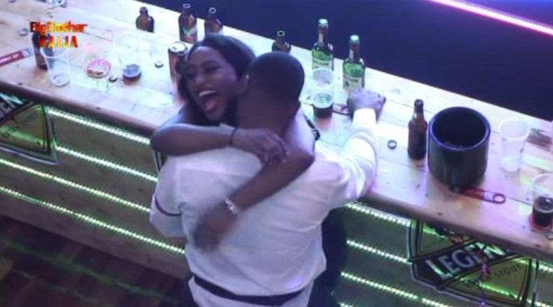 Frodd and Esther gave viewers so much to see at the 9th Saturday night party [Twitter/BBNaija]