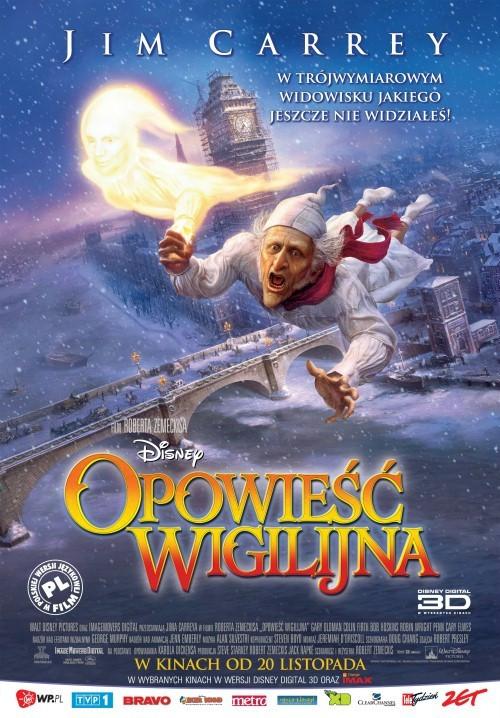 """Plakat animacji 3D """"Opowieść wigilijna"""", reż. Robert Zemeckis. Premiera w polskich kinach - 20 listopada 2009"""