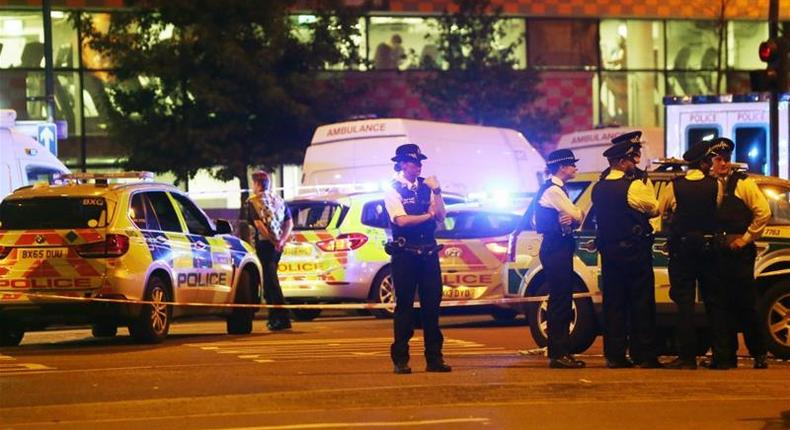 Police at the scene of the incident in Finsbury Park