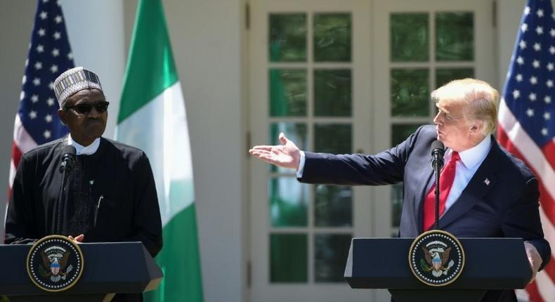 US President Donald Trump and Nigerian President Muhammadu Buhari hold a joint press conference in the Rose Garden of the White House on April 30, 2018