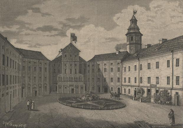 Zespół obronny w Nieświeżu, widok od strony dziedzińca, grafika Władysława Gumińskiego z 1882 roku.