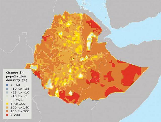Promene u gustini naseljenosti: Etiopija