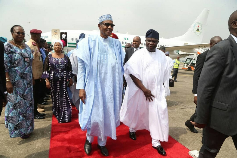 President Muhammadu Buhari is in Lagos to commission a number of projects [Twitter/AkinwunmiAmbode]