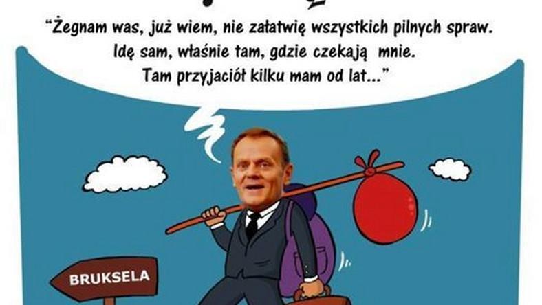 Donald Tusk odchodzi - mem / Lewak zmasakrowany