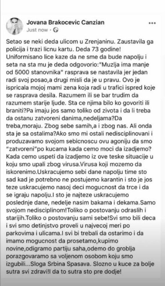 Objava Jovane Brakočević