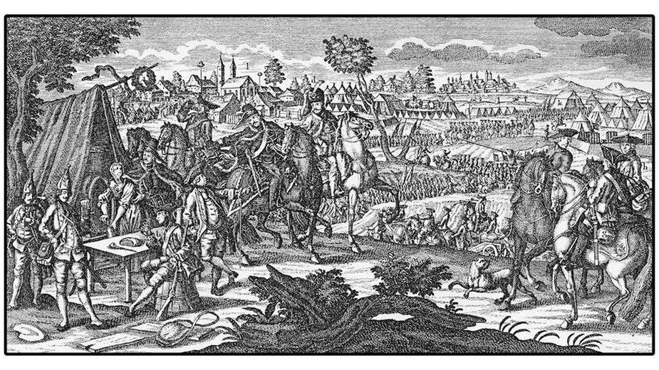 Obóz żołnierzy pruskich podczas wojny siedmioletniej - domena publiczna