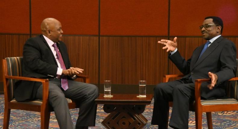 Siaya Senator James Orengo with KTN presenter Tony Gachoka (Twitter)