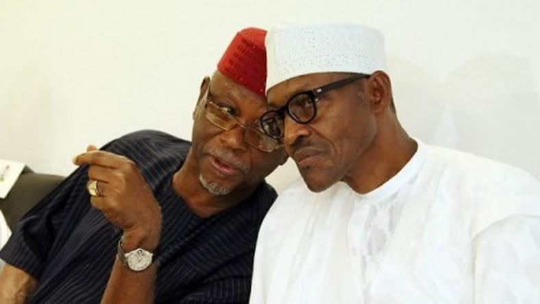 National Chairman of the APC, Chief John Adigie-Oyegun and President Muhammadu Buhari.