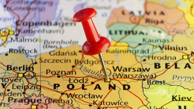 Polska, mapa, Warszawa, miasto, geografia, kraj, państwo, pinezka, stolica. / fot. Shutterstock