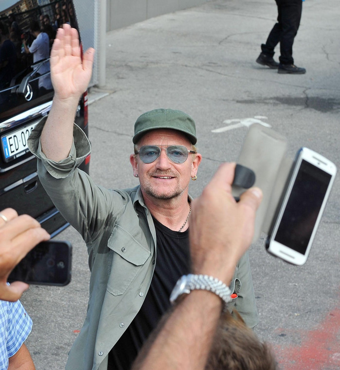 Bono podczas spotkania z fanami w Turynie