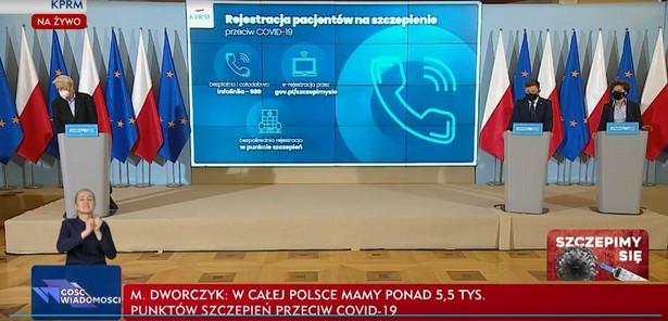 Michał Dworczyk, prof. Andrzej Horban, Marlena Maląg konferencja