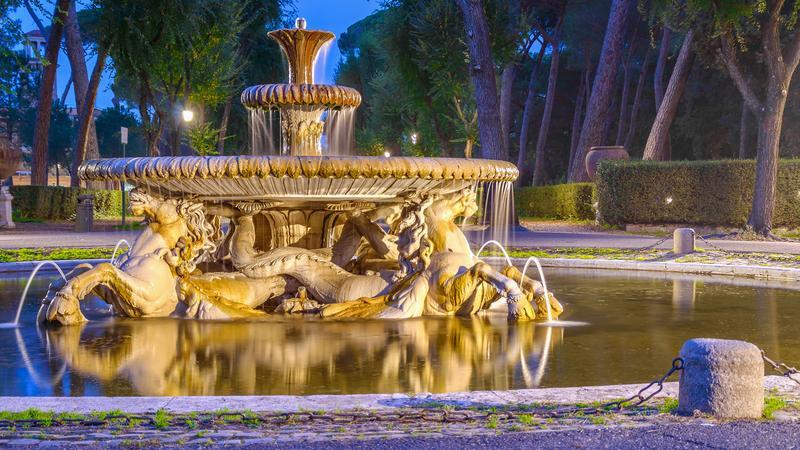 Fontanna w parku Pincio, Rzym