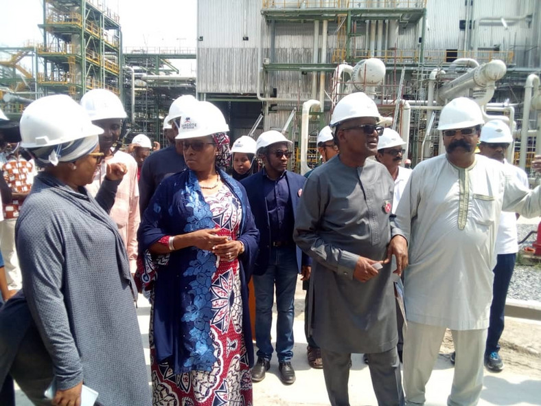 Hajia Fatima Wali,Special Adviser to President on Stakeholders and Intergovernmental Relations, Mrs Zainab Ahmed, Minister of Finance, Budget and National Planning,President of the Dangote Group, Alhaji Aliko Dangote and Mr Devakumar Edwin, Group Executive Director Projects and Portfolio Development during inspection of Dangote projects at the Lekki Free Trade Zone on Sunday in Lagos (NAN)