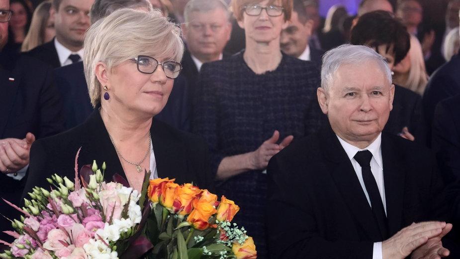 Szefowa Trybunału Konstytucyjnego Julia Przyłębska i prezes Prawa i Sprawiedliwości Jarosław Kaczyński
