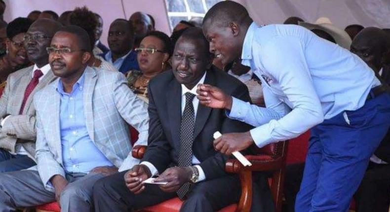 File image of Ndindi Nyoro who is amog the participants at the Mountain Breeze meeting chatting with DP Ruto