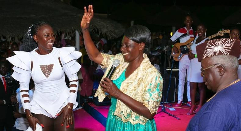 Akothee with her Parents on Stage. Images from Akothee's show in Mombasa
