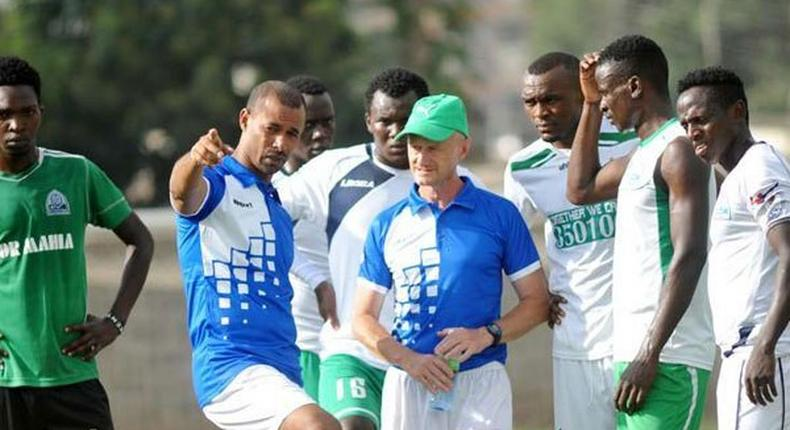 Gor Mahia players with Coach Ze Maria during a past training