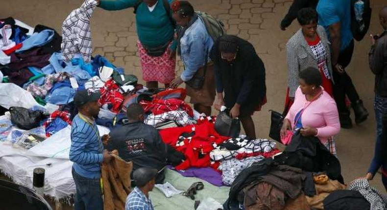 Hawkers displaying their goods on one of the streets in Nairobi